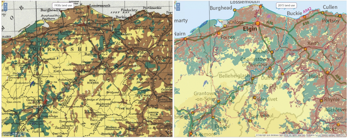 On the left, a land use map from Scotland from 1930s. On the right, the same region on a land use map of 2015.